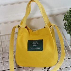 Handbags - Yellow Convas handbag